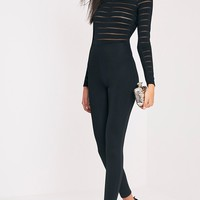 Polly Black Burn Out Mesh Jumpsuit