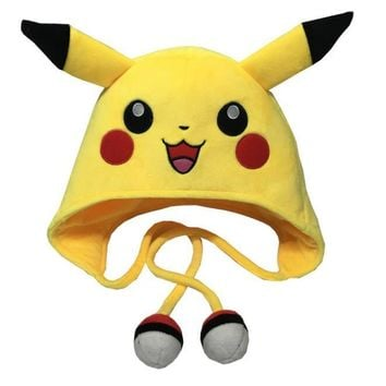 Pikachu Laplander Fleece Beanie Cap with EarsKawaii Pokemon go  AT_89_9