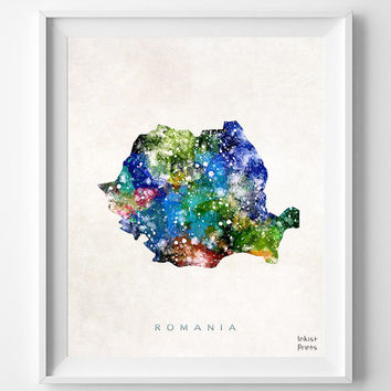 Romania Map, Watercolor, Bucharest, Romanian, Europe, Home Town, Poster, Gift, Nursery, Room, Baby, Painting, Bedroom, world map [NO 464]