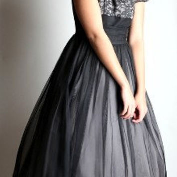 Black 50's Party Dress for Prom This Black Sheer Fifties  Dress is for a Cocktail Party, Formal Dance, Home Coming or a Special Event.