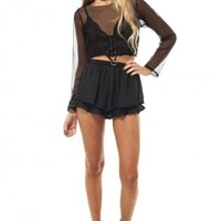 Black frill shorts