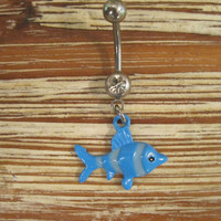 Belly Button Ring - Body Jewelry - Blue Fish w/ Clear Gem Belly Ring