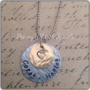Handstamped Necklace, Texured Stamped Necklace, Personalized Necklace, Mother's Necklace, Gift For Mom, Gift For Her