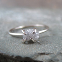 One Carat Rough Uncut Diamond Solitaire Engagement by ASecondTime