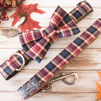 Fall Plaid Dog Collar and Bow Tie | Dog and Bow
