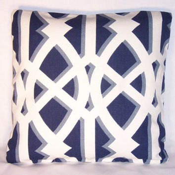 "Navy Blue Lattice Trellis Throw Pillow 18"" Square Cotton Geometric Modern Ready to Ship Cover and Insert"