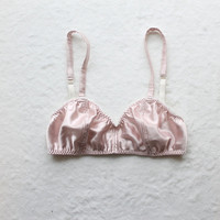 Sample SALE OOAK Pink Satin Vintage Style Bralette Size Medium