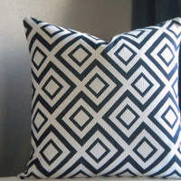 18 x 18 Black white geometric pillow cover