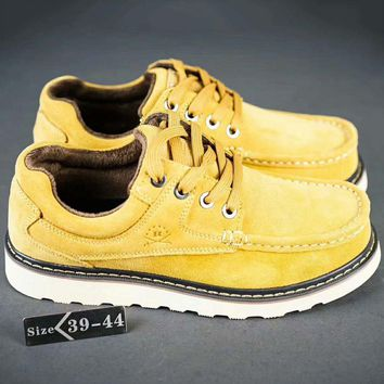 Adidas Valley Fashion Men Low Leather Outdoors Ankle Boots Martens Shoes Yellow G-SSRS-CJZX