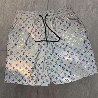 LV Louis Vuitton Fashion Men Women Cool Full Logo 3M Reflective Sport Shorts