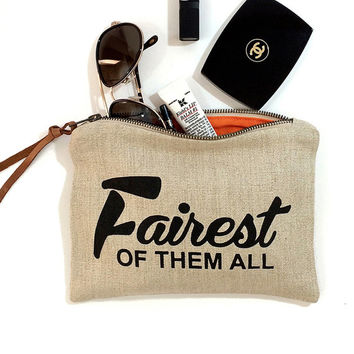 "Mother's Day Gift - ""Fairest of Them All"" - Make - Up Case, Cosmetic Case, All Purpose Clutch - Black / White Combo"