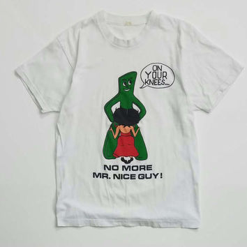 "Rare 80s Gumby and Betty Boop ""No More Mr Nice Guy"" Parody Tee Size L"