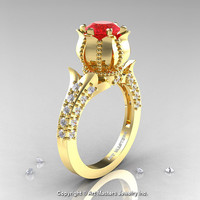 Classic 14K Yellow Gold 1.0 Ct Ruby Diamond Solitaire Wedding Ring R410-14KYGDR
