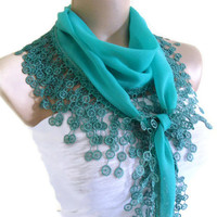 Necklace scarves, Traditional Turkish-style, Headband, scarf, Dark turquoise, fashion 2013, Mothers day