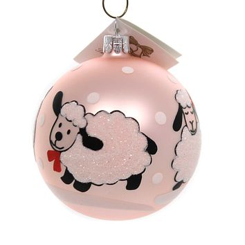 Golden Bell Collection BABY SHEEP BALL ORNAMENT Glass Hand Painted Bm683 Pink