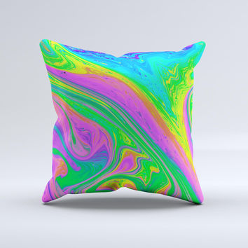Neon Color Fushion V4  Ink-Fuzed Decorative Throw Pillow