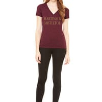 Martinis and Mistletoe Womens Cranberry or White Holiday Tee