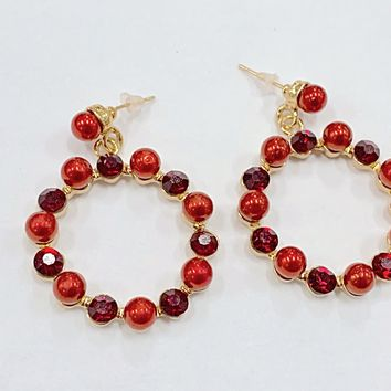 Glamourpus red Rhinestone and Pearl Hoop Earrings