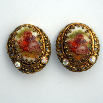 Vintage West Germany Cameo Clip On Earrings