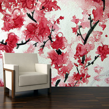 Cherry blossom wall decal, wall mural, wallpapers, Repositionable peel & stick wallpapers.
