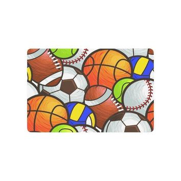 Warm Tour Sport Balls Anti-slip Door Mat Home Decor, American Football Indoor Outdoor Entrance Doormat Rubber Backing
