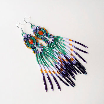 Bohemian long fringe micro macrame earrings - Green Purple Orange Fringe Tassel Unique Boho Beadwork Unique