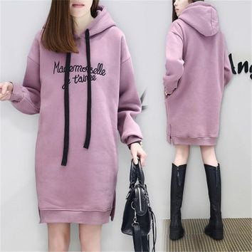 Long Hoodie Sweatshirts Women Print Letter Thicken Tops Winter Clothes For Pregnant Pregnancy Maternity Clothing Plus Size 3XL