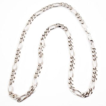 Vintage Sterling Silver Figaro Chain 22 inch Necklace