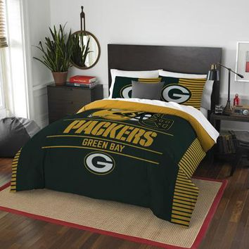 Green Bay Packers NFL Draft Full/Queen Comforter & Shams Set