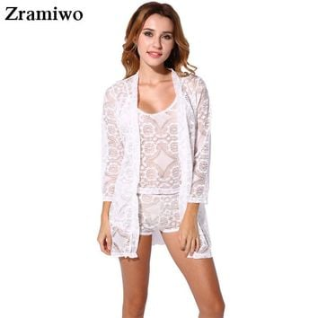 Vintage Lace Robe and Cami Set Hollow Out Pajamas Very Hot  Nightgowns Pretty Nighties Women's Sleepwear Sets