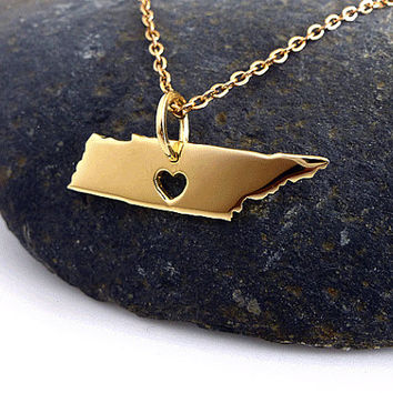 Tennessee Necklace - 18K Gold Plated Necklace - State Necklace Gold  - State Charm - I Heart Tennessee -  I love Tennessee