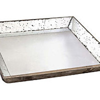 "24"" Square Mirrored Wood Tray"