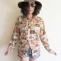 Vintage 70s Southwest Tribal Ethnic Cactus Eagle Native American Novelty Shirt with Oversize Collar