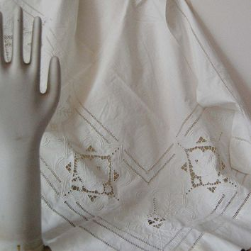 vintage white on white cutwork curtain by mamaleanne22 on Etsy
