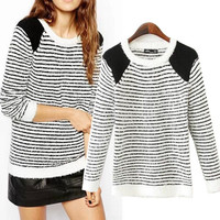 Striped Long Sleeve Sweater with Knitted Shoulder