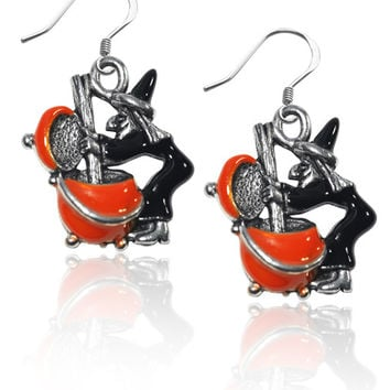 Witch Charm Earrings in Silver