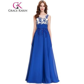 Grace Karin Evening Dresses Sleeveless Appliques Chiffon Cheap Long Prom Wedding Party Gowns Royal Blue Special Occasion Dresses