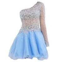 VILAVI Womens A-line One Shoulder Short Tulle Prom Dresses 12 Light Sky Blue