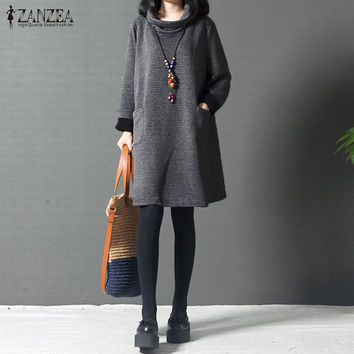 ZANZEA Women Autumn Dress 2017 Ladies Casual Turtle Neck Long Sleeve Mini Dress Loose Solid Vintage