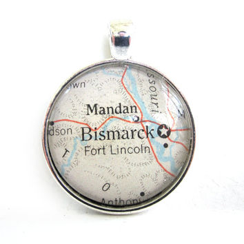 Bismarck, North Dakota, Pendant from Vintage Map, in Glass Tile Circle