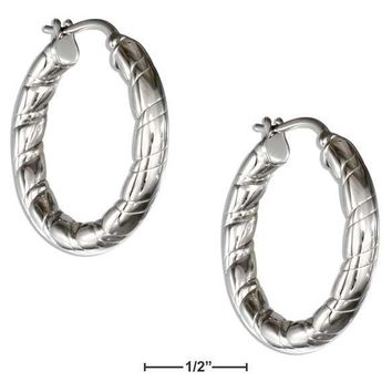 STAINLESS STEEL 28MM SOFT SPIRAL HOOP EARRINGS WITH FRENCH LOCKS