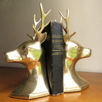 Vintage Brass Deer Bookends, Brass Bookends, Hollywood Regency, Reindeer Bookends, Deer, Mid Century Bookends