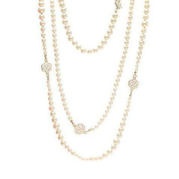 DCCKNQ2 Chanel Woman Fashion Logo Pearls Necklace For Best Gift-17