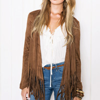 Faux Suede Open Front Fringed Long Sleeve Cardigan