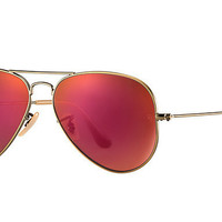 Ray Ban Aviator Sunglass Brushed Bronze Red Mirrored RB 3025 167/2K