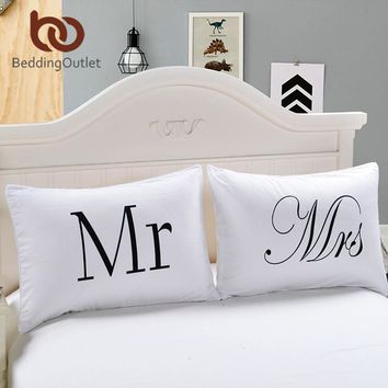 BeddingOutlet Mr and Mrs Pillow Cases Couple Pillowcases His and Hers Personalized Pillow Cover For Anniversary Wedding Gift