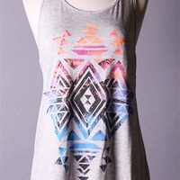 Tribal Print Grey Racerback Tank
