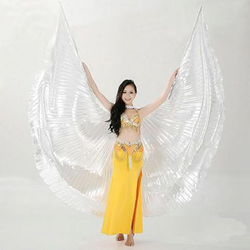 Hot Selling Adults Shining Egyptian Belly Dancing Isis Wings 11 Colors Belly Dance Wings Without Sticks