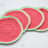crochet watermelon coasters set of 4