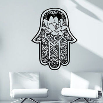 Wall Decals Bedroom Hamsa Fatima Hand Vinyl Decal Yoga Studio Sticker Decor C3